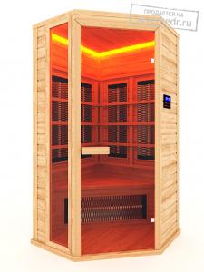 Одноместная угловая инфракрасная сауна  с керамическими излучателями
