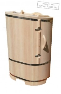 Кедровая бочка овальная «Классическая НЕО»  со скосом со встроенным парогенератором