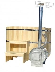 Офуро | Фурако (Японская баня) круглая с дровяной внешней печью