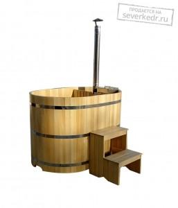 Офуро | Фурако (Японская баня) овальная из кедра с дровяной встроенной печью 1600х1200х1200 мм