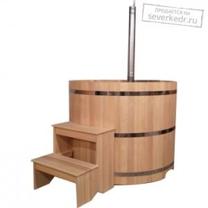 Офуро | Фурако (Японская баня) круглая из кедра с дровяной встроенной печью